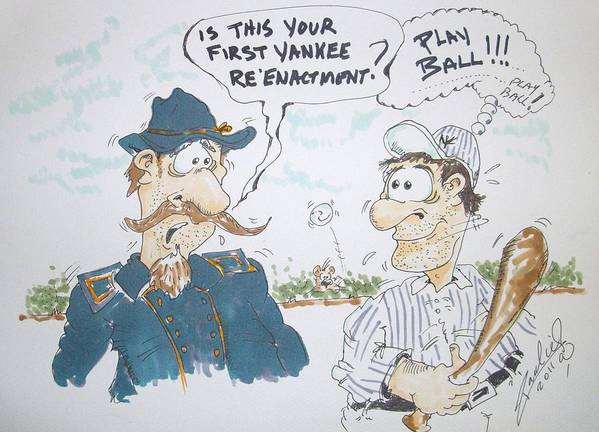 Baseball Poster featuring the drawing Yankee Mistake by Paul Chestnutt