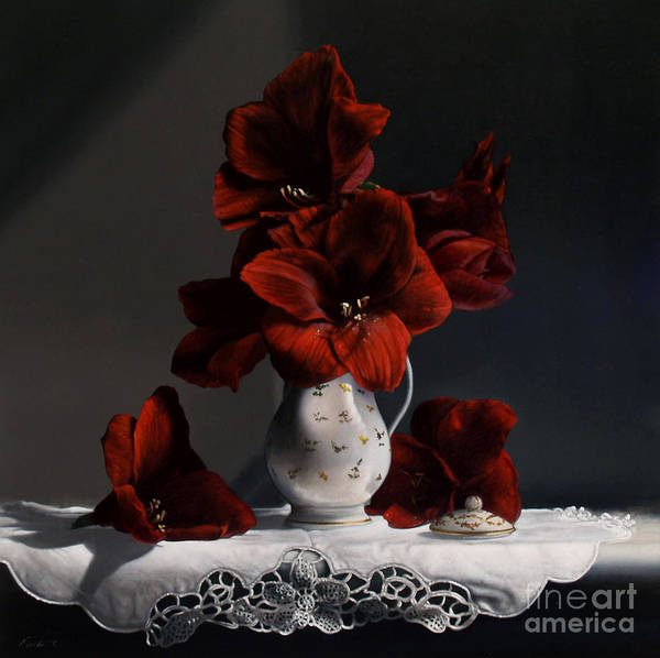 Amaryllis Poster featuring the painting Red Amaryllis by Larry Preston