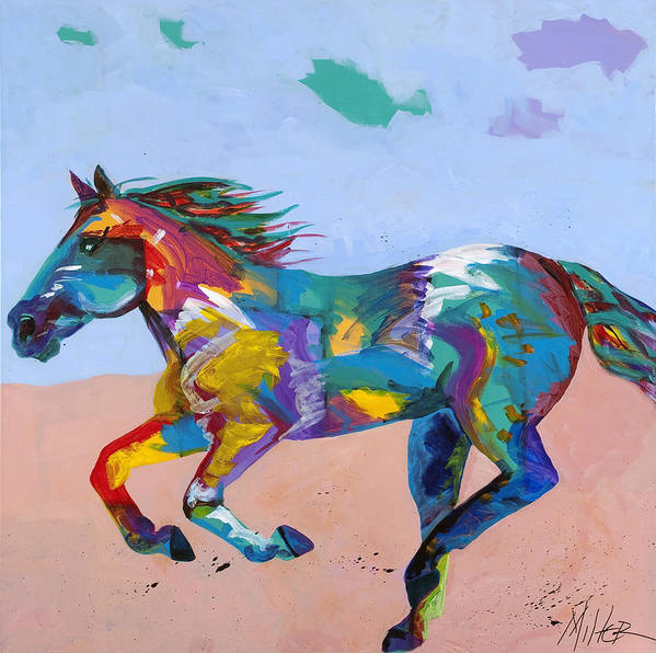 Horse Poster featuring the painting At Full Gallop by Tracy Miller