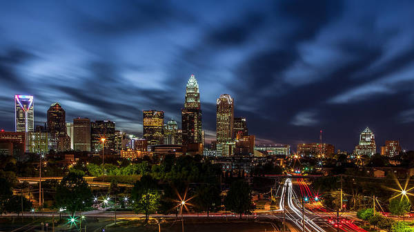 Charlotte Skyline Captured 04/13/12. Poster featuring the photograph Busy Charlotte Night by Chris Austin