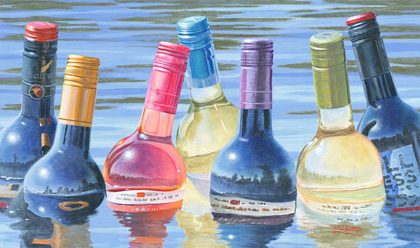Wine Art Poster featuring the painting Skinny Dipping by Will Enns