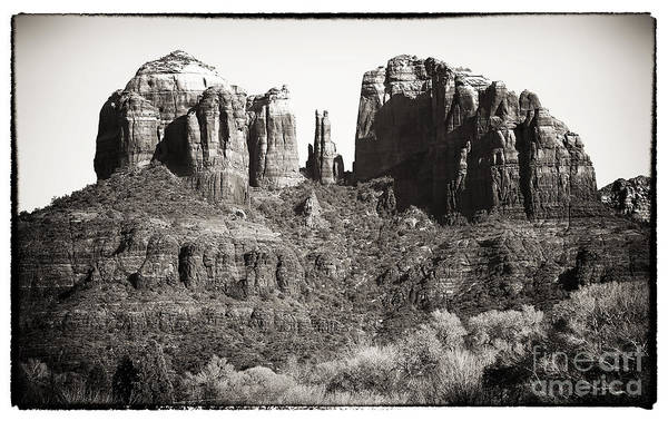 Vintage Cathedral Rock Poster featuring the photograph Vintage Cathedral Rock by John Rizzuto