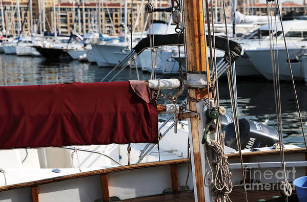 Maroon Sail Poster featuring the photograph Maroon Sail by John Rizzuto