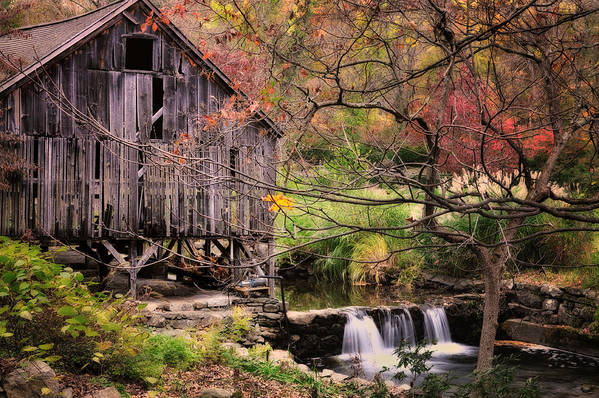 Grist Mill Poster featuring the photograph Old Grist Mill - Kent Connecticut by Thomas Schoeller