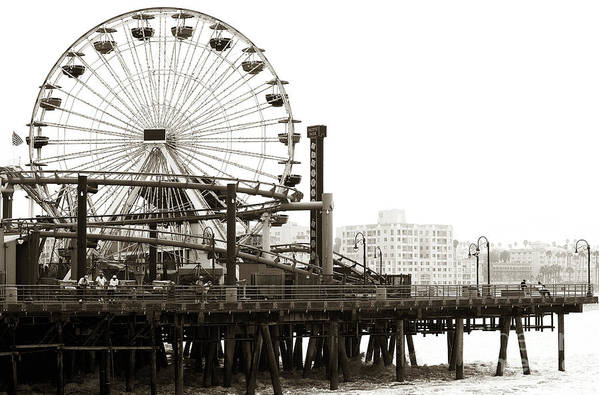 Vintage Santa Monica Pier Poster featuring the photograph Vintage Santa Monica Pier by John Rizzuto