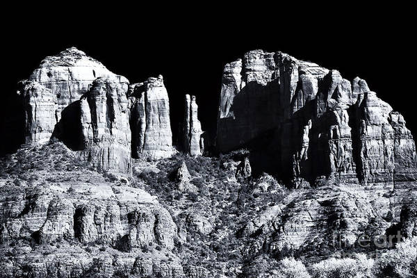 Cathedral Rock Shadows Poster featuring the photograph Cathedral Rock Shadows by John Rizzuto
