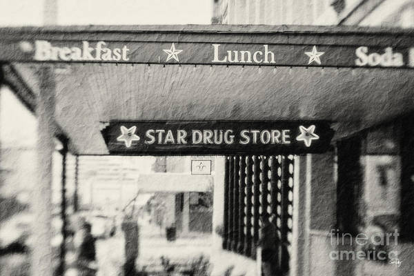 Black&white Poster featuring the photograph Star Drug Store Marquee by Scott Pellegrin