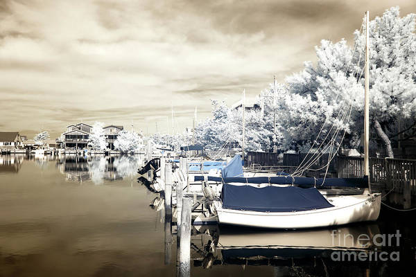 Infrared Boats At Lbi Poster featuring the photograph Infrared Boats At Lbi Blue by John Rizzuto