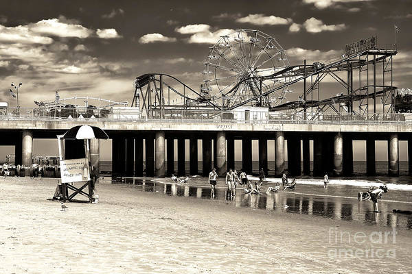 Vintage Steel Pier Poster featuring the photograph Vintage Steel Pier by John Rizzuto