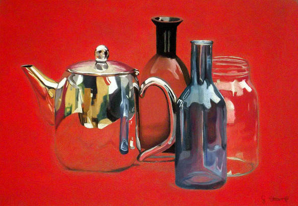 Silver Poster featuring the pastel On Reflection by Gary Stamp