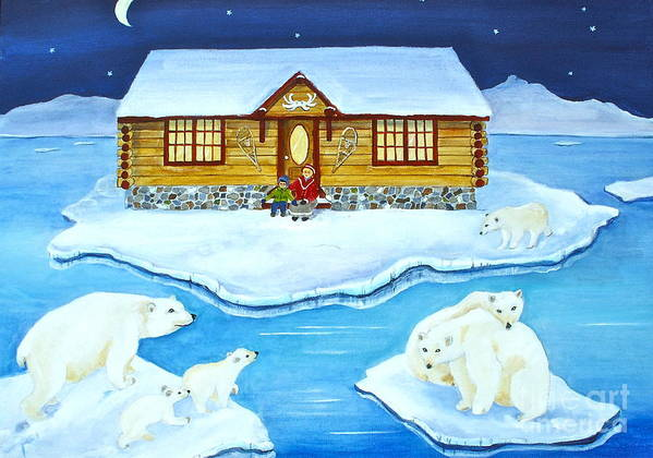 Nanook Poster featuring the painting Nanook Of The North by Virginia Ann Hemingson