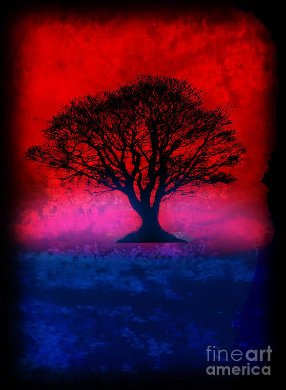Original Poster featuring the painting Tree Of Life - Red Sky by Robert R Splashy Art