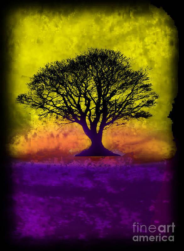 Original Poster featuring the painting Tree Of Life - Yellow Sunburst Sky by Robert R Splashy Art