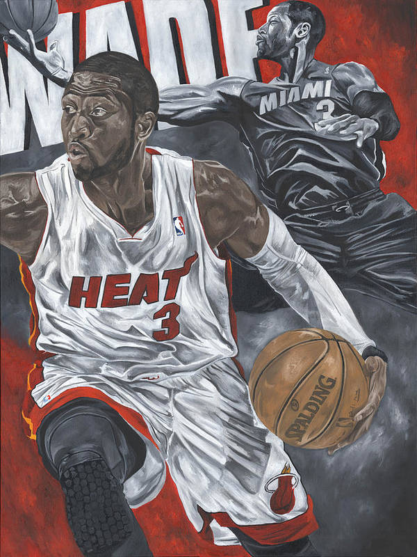 Dwyane Wade Painting Poster featuring the painting Dwyane Wade by David Courson