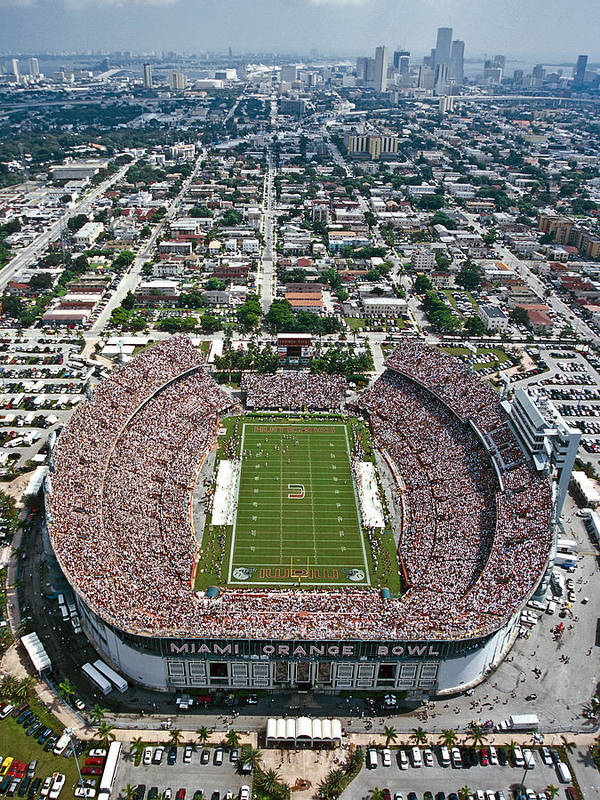 Football Stadium Sports Stadium Orange Bowl Orange Bowl Stadium Sports Arena Football Sports Sports Venue Ob Vintage Orange Bowl Orange Bowl Classic Game Orange Bowl Classic Stadium Architecture Historic Stadiums Photography Stadium Photography Architecture Aerial Poster featuring the photograph Miami Aerial Of Orange Bowl Stadium by Scott B Smith Photography