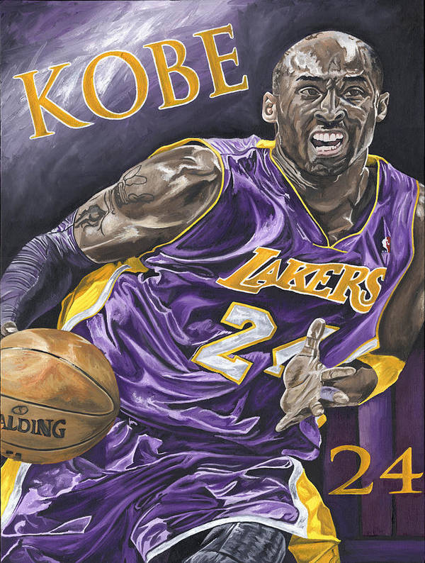 La Lakers Kobe Bryant Nba Basketball David Courson Sports Art Poster featuring the painting Kobe Bryant by David Courson