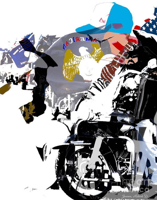 Motorcycle Poster featuring the digital art In It Together by Robert Jensen