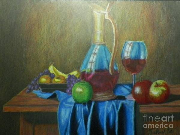 Still Life Poster featuring the drawing Fruity Still Life by Mickael Bruce