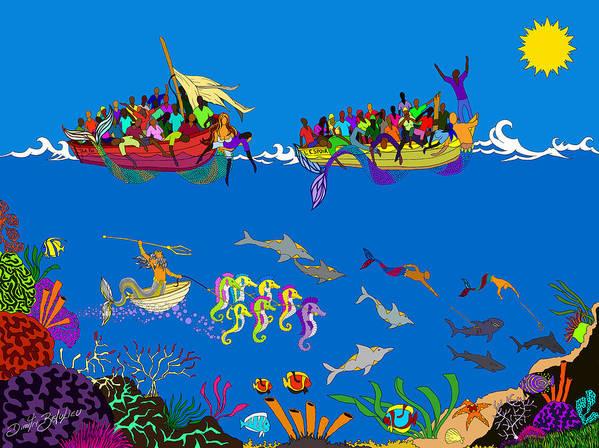 Haitian Art Poster featuring the digital art Agwe by Dimitri Beaulieu