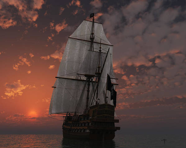 Pirate Ship Salis Ancient Vessels Sea Sunset Poster featuring the mixed media Bateau De Pirate by Steven Palmer
