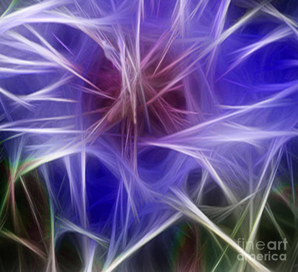 Blue Poster featuring the digital art Blue Hibiscus Fractal Panel 2 by Peter Piatt
