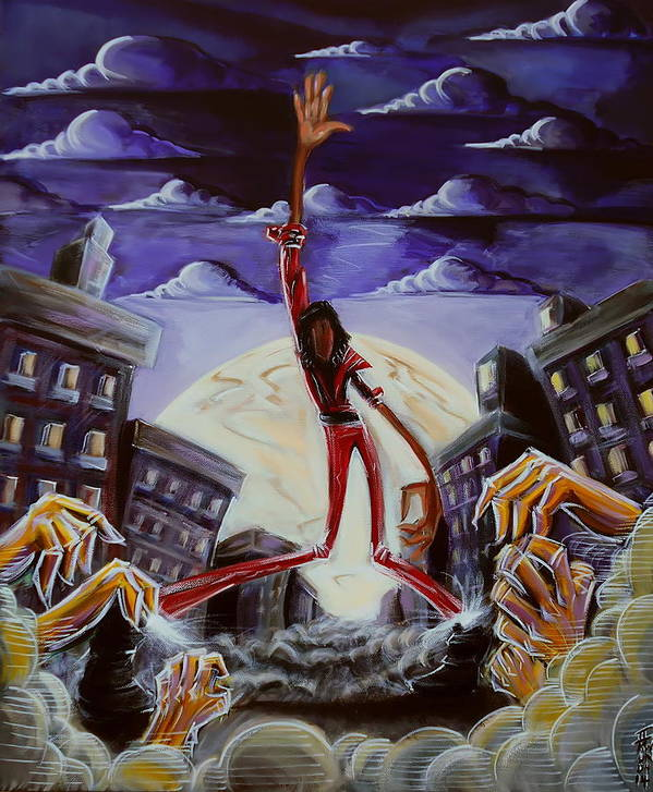 Thriller Poster featuring the painting 'thriller V3' by Tu-Kwon Thomas