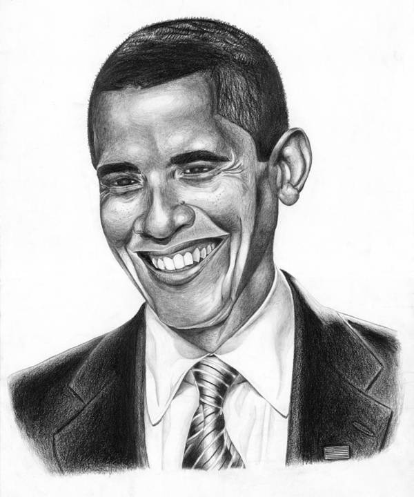 Barack Poster featuring the drawing Presidential Smile by Jeff Stroman