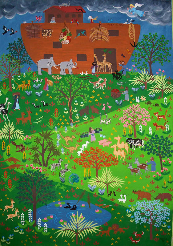 Noah\\\'s Ark Poster featuring the painting Noahs Ark by Isolda Nouel