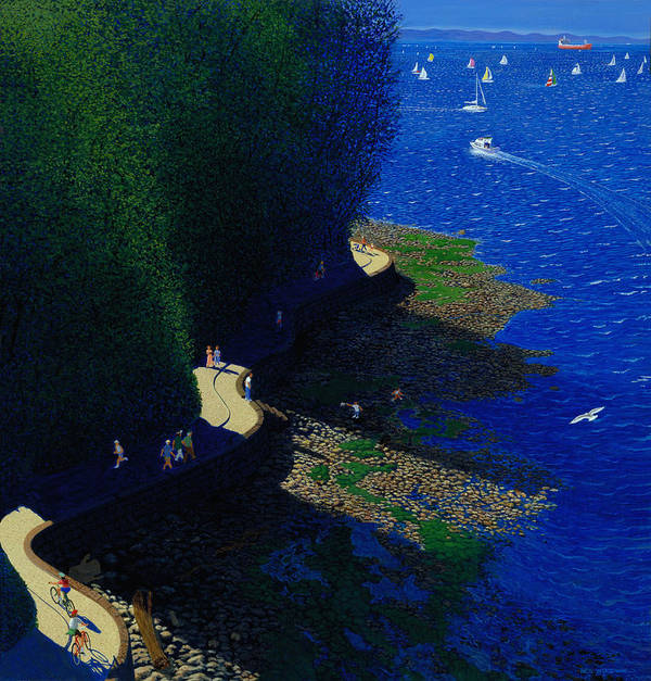 Landscape Poster featuring the painting North Seawall At Low Tide by Neil Woodward