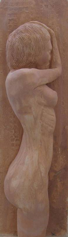 Clay Poster featuring the relief Model Female Nude.02 by Ray Agius