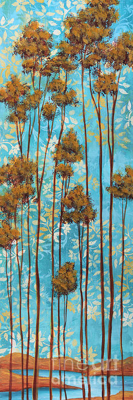 Abstract Poster featuring the painting Stunning Abstract Landscape Elegant Trees Floating Dreams II By Megan Duncanson by Megan Duncanson