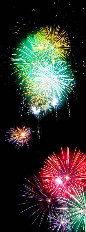 Fireworks Poster featuring the photograph Colorful Explosions No3 by Weston Westmoreland