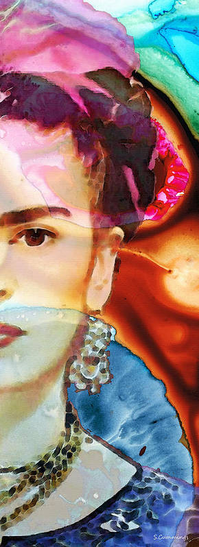 Frida Kahlo Poster featuring the painting Frida Kahlo Art - Seeing Color by Sharon Cummings