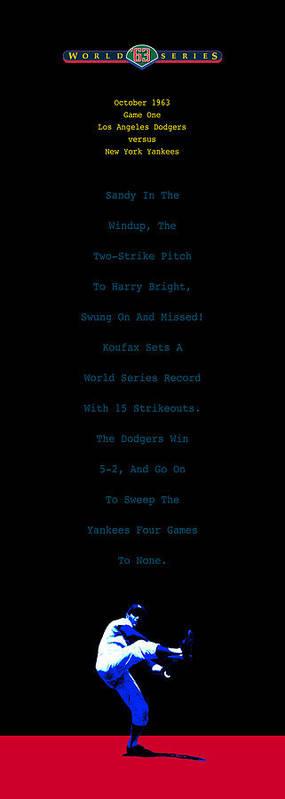 Sandy Koufax Poster featuring the digital art Koufax Dominates Yankees by Ron Regalado