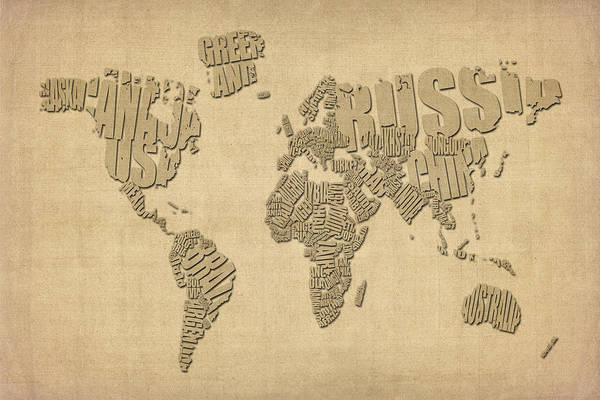 World Map Poster featuring the digital art Typographic Text Map Of The World by Michael Tompsett