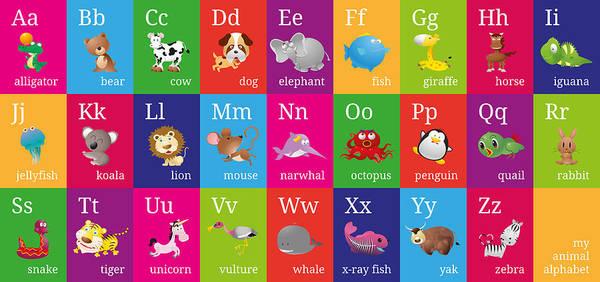 Animal Alphabet Poster featuring the digital art Animal Alphabet by Michael Tompsett