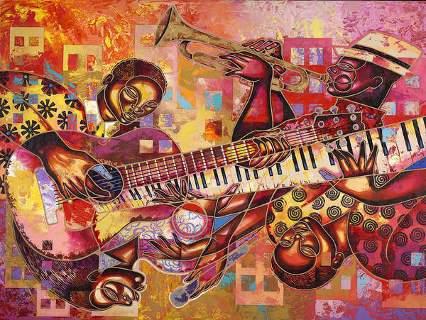 Figurative Poster featuring the painting The Jazz Dimension by Larry Poncho Brown