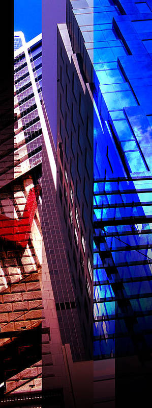 Merged Poster featuring the photograph Merged - City Blues by Jon Berry OsoPorto