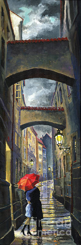 Oil Poster featuring the painting Prague Old Street Love Story by Yuriy Shevchuk