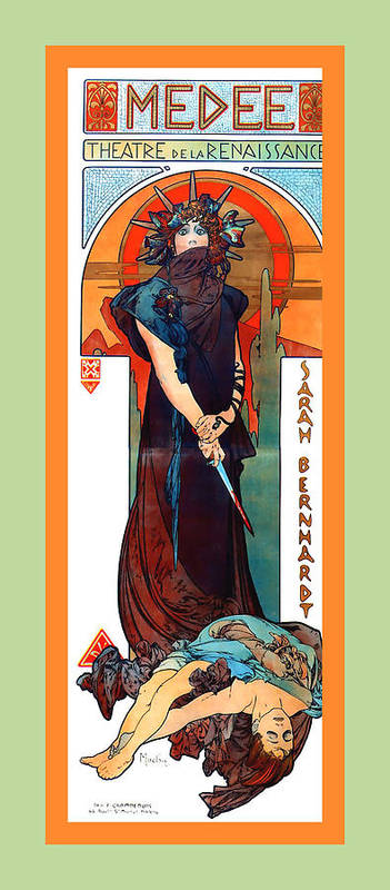 Alphonse Maria Mucha Poster featuring the digital art Medee by Alphonse Maria Mucha