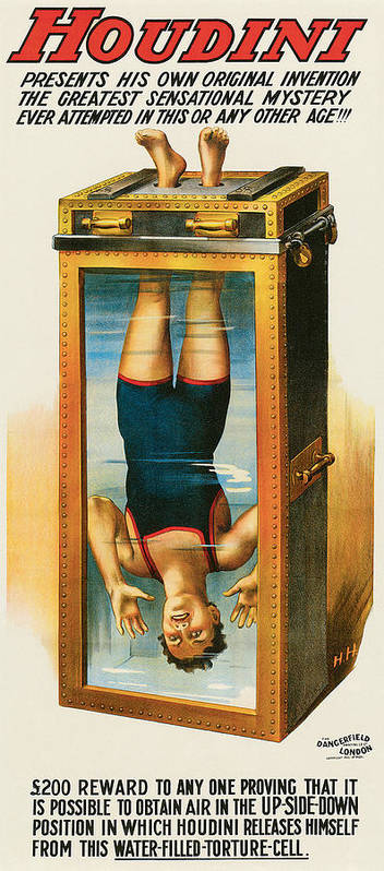 Houdini Poster featuring the painting Houdini Water Filled Torture Cell by Unknown