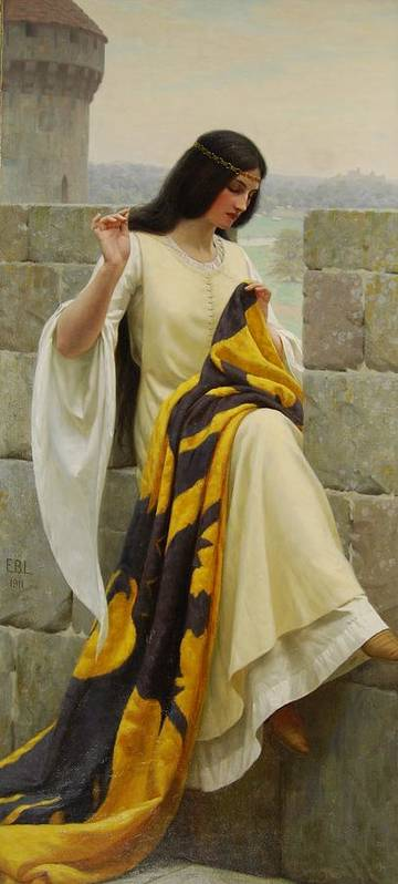 Stitching The Standard Poster featuring the painting Stitching The Standard by Edmund Blair Leighton