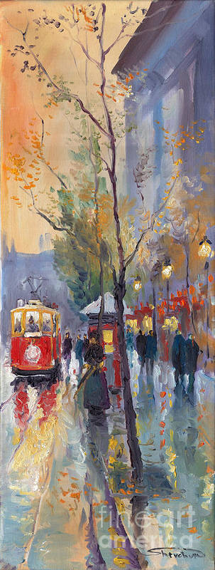 Prague Poster featuring the painting Prague Old Tram Vaclavske Square by Yuriy Shevchuk