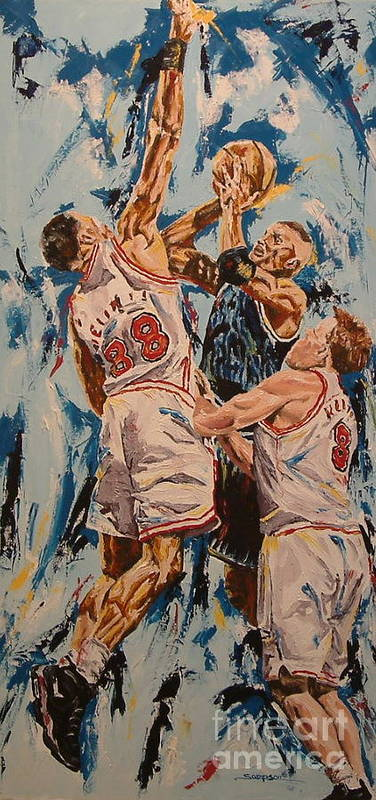 Basketball Poster featuring the painting The Block by Debbie Sampson