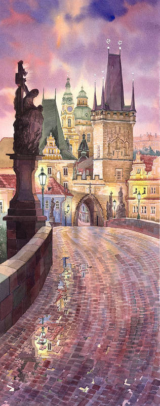Watercolour Poster featuring the painting Prague Charles Bridge Night Light 1 by Yuriy Shevchuk