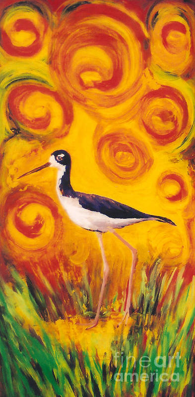 Hawaii Birds Poster featuring the painting Hawaiian Stilt Sunset by Anna Skaradzinska