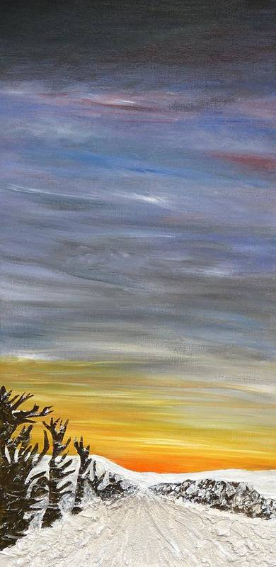 Landscape Poster featuring the painting Open Road With Snow by Becky Wheeler