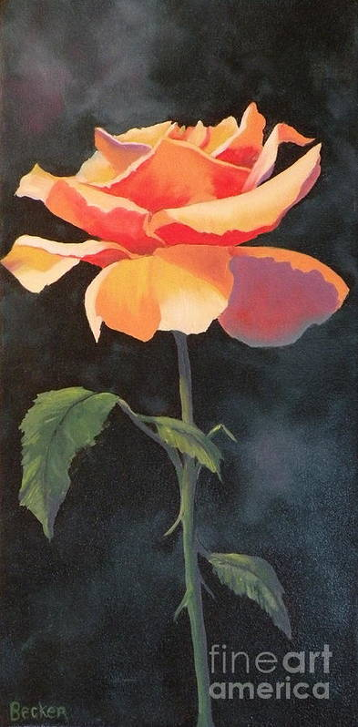 Rose Poster featuring the painting One And Only by Susan A Becker