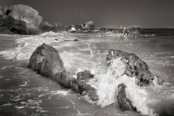 Monochrome Poster featuring the photograph The Wave by Guido Montanes Castillo