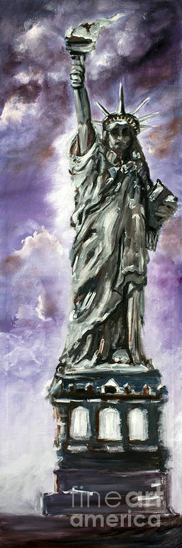 New York Poster featuring the painting Statue Of Liberty Part 3 by Ginette Callaway